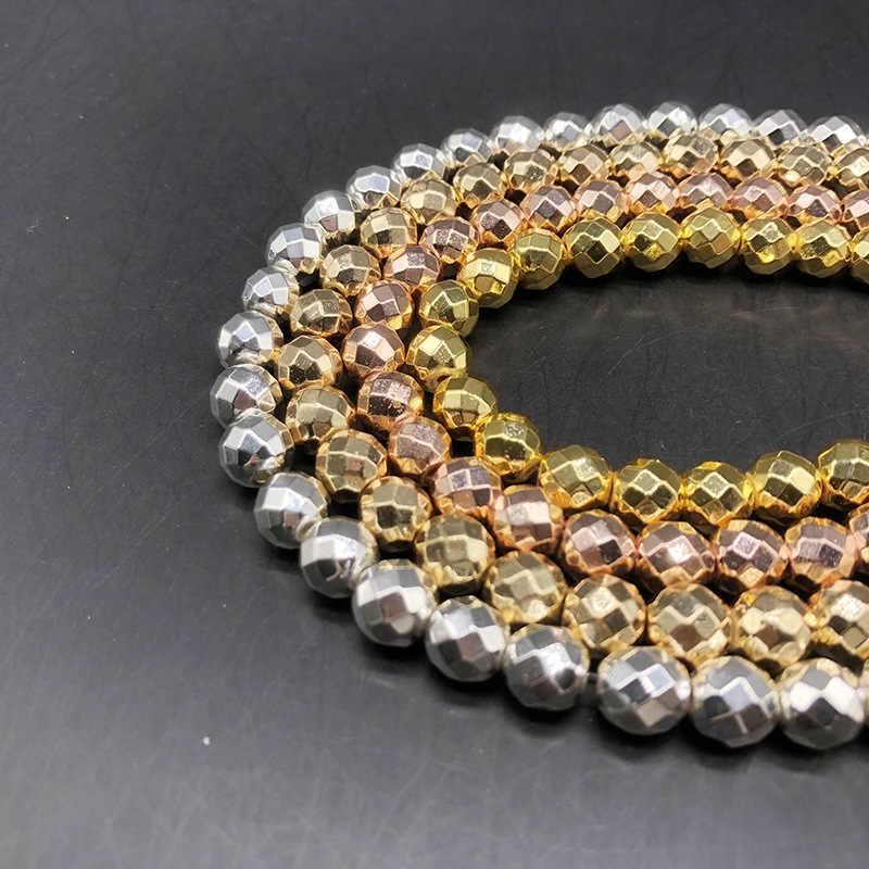1 Strand Mạ Vàng/Bạc/Vàng Hồng/Màu Đồng Hematite Stone Beads 2 3 4 6 8 10 12 mét Mặt Charm Loose Hạt DIY Đồ Trang Sức