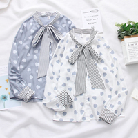 Spring Women Shirts Long Sleeve Bow V Neck Solid Blouse Chiffon Tops Summer Office Ladies OL Work Wear Casual Print Heart Shirt