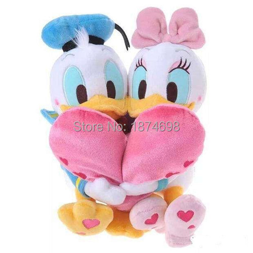 New Donald And Daisy Duck Holding Heart Lover Plush Toy 30cm Cute  Valentineu0027s Day Stuffed Animals