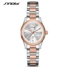 SINOBI 2017 Golden Women's Geneva Watches Fashion Bracelet Wristwatch Date Famous Brands Ladies Quartz Watch Clocks Montre Femme