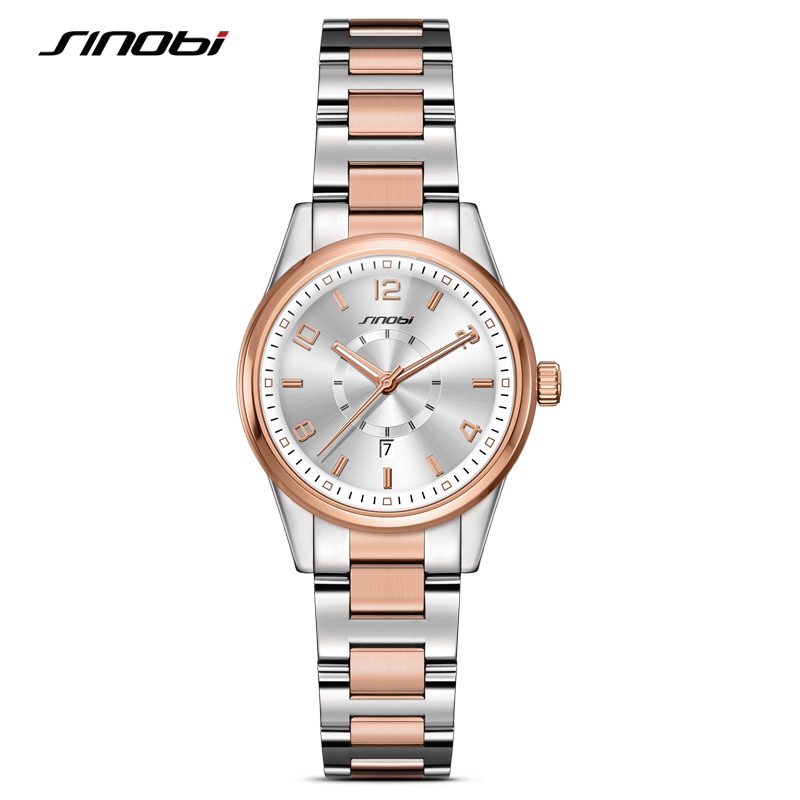 SINOBI 2018 Gouden Dames Genève Horloges Mode Armband Polshorloge Datum Beroemde Merken Dames Quartz Horloge Klokken Montre Femme