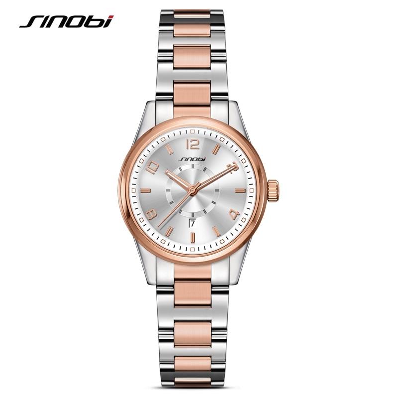 SINOBI 2018 Golden Women's Genève Klockor Mode Armband Armbandsur Datum Berömda Märken Ladies Quartz Watch Klockor Montre Femme