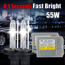 H7 xenon fast bright F5 ballast HID light kit 12V 55W H1 H3 H4 H8 H9 H11 9005 HB3 9006 HB4 881 D2S 4300k to 8000k HID xenon kit