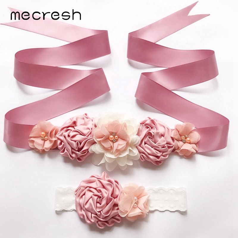 Mecresh Rhinestone Flower Girl Dress Belt & Head Band Pink Simulated Pearl Crystal Wedding Ribbon Belt Dress Accessories YD008