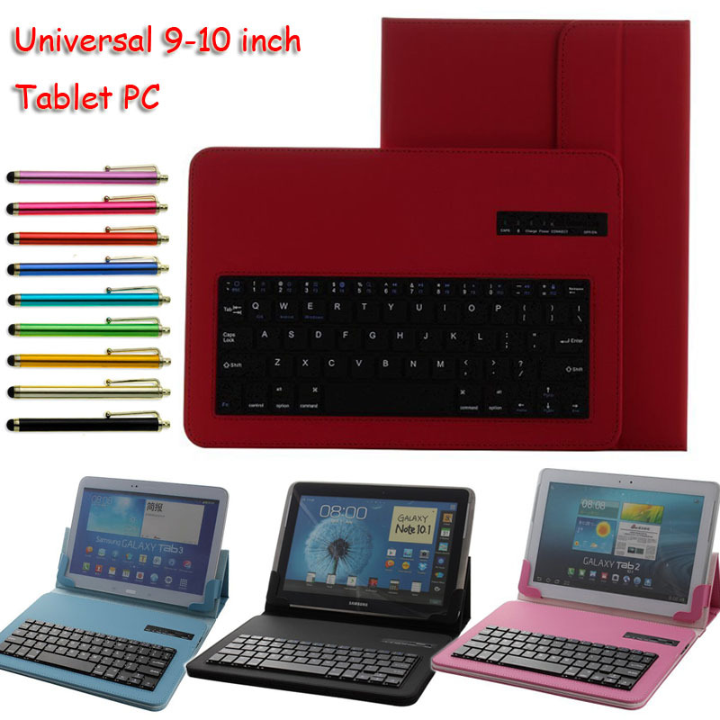 Colorful Universal Removable Bluetooth ABS Keyboard With Leather Case Stand For 9-10 10.1 Tablet PC Android Window IOS & Stylus russian original lenovo bluetooth keyboard for s6000 android tablet pc ios ipad universal model 2 4ghz with lithium batteries
