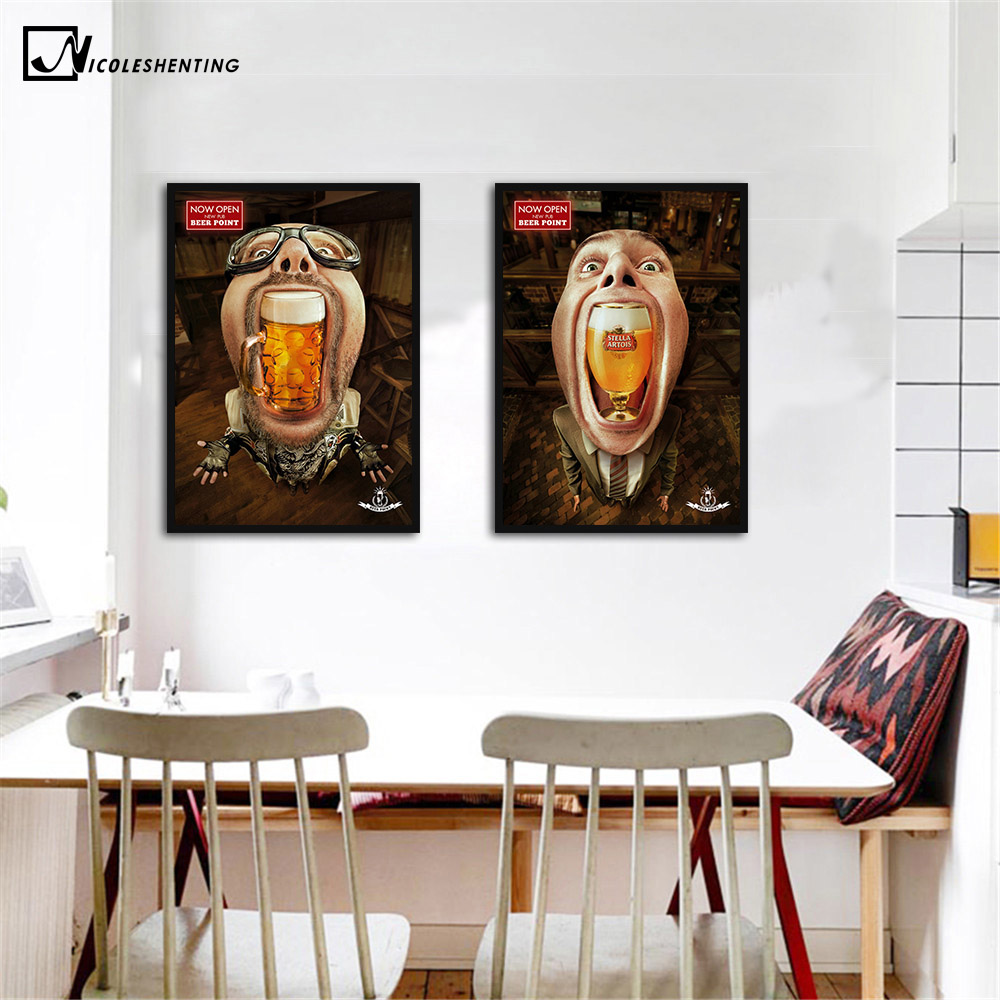 Online Shop Drinking Beer Funny Poster Art Minimalist Canvas