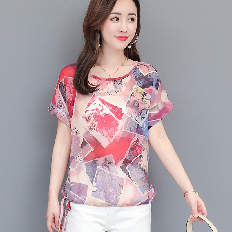 2019 Summer Women Loose Casual Blouse Elegant Chiffon Blouses Floral Print Shirts Ladies Clothing Women Tops Boho Beach Shirts