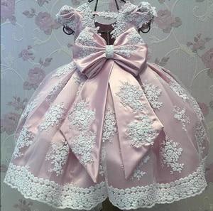 Красивая Розовая Одежда для маленьких девочек, платье для первого дня рождения для девочек с большим бантом, длинные праздничные платья для...