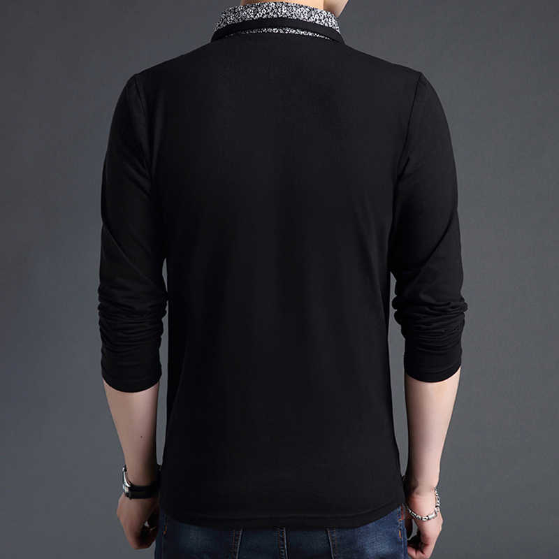 b287cd2e77 ... Plus size men polo shirt long-sleeve 2019 new spring and autumn smart  casual male ...