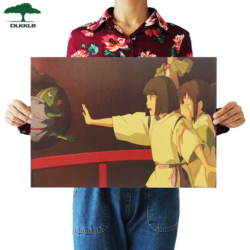 DLKKLB Anime Movie Spirited Away Famous Hayao Miyazaki Kraft Paper Home Dormitory Retro Poster Decor Painting Art Wall Stickers