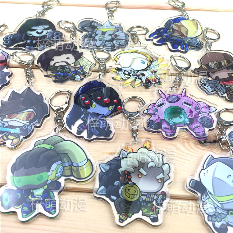 OW Game Soldier 76 Tracer Mercy Widowmaker DVA D.Va Lucio Hanzo WINSTON Acrylic Japanese Rubber Keychain all characters tracer reaper widowmaker action figure ow game keychain pendant key accessories ltx1