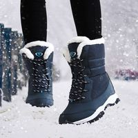 Plus Size 41 Winter Women Snow Boots 2017 Mid Calf Wedge Ladies Shoes Platform Mixed Colors