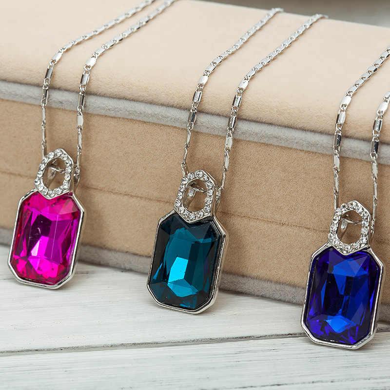 Оптовая продажа квадратная Подвеска из кристалла циркония ожерелье ювелирные изделия и искусственными бриллиантами украшения с каплями воды