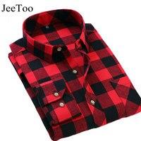 JeeToo Brand Mens Plaid Shirts Red And Black Male Dress Shirt Long Sleeve Slim Fit Cotton