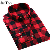 JeeToo Brand Mens Plaid Shirts Red And Black Male Dress Shirt Long Sleeve Slim Fit Cotton