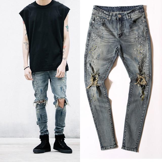 8ce9dd1fe 29-36 men designer clothes denim jumpsuit jean pants korean rock splash-ink  stretch moto distressed ripped skinny men hole jeans