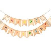 Feliz carta de aniversário pendurado bar decorações da festa de aniversário crianças linho Bandeiras decoração de aniversário Fontes do Partido do chuveiro do bebê