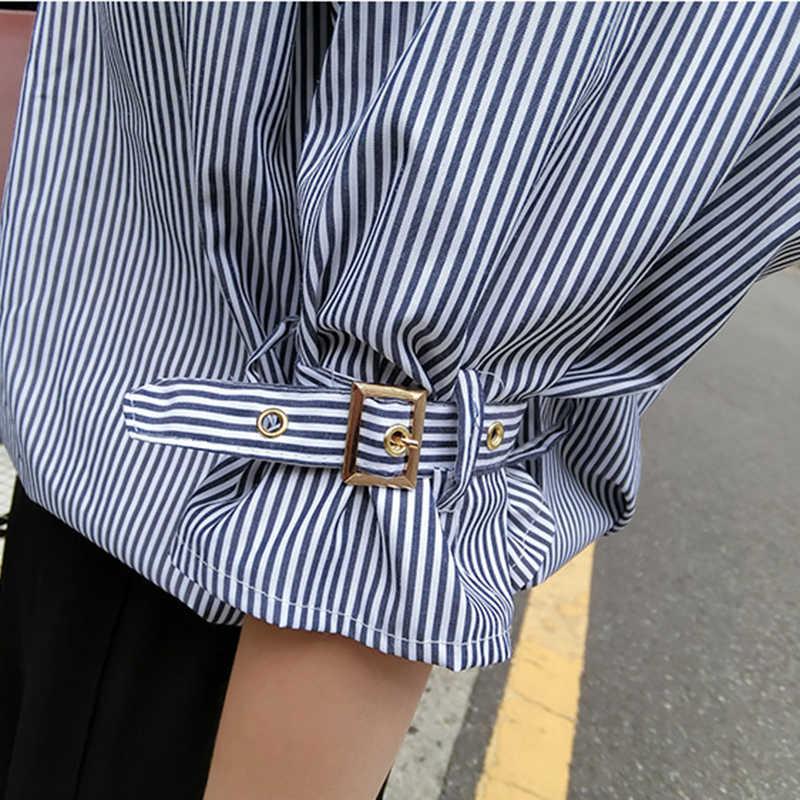 Весенняя женская блузка с открытой спиной, с пряжкой, с рукавом-фонариком, синяя, белая, в полоску, с v-образным вырезом, женская, Корейская, шикарная, свободная рубашка, топы