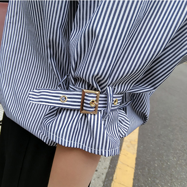 spring women character backless buckle half lantern sleeve blouse blue white striped v neck female Korean chic loose shirt tops