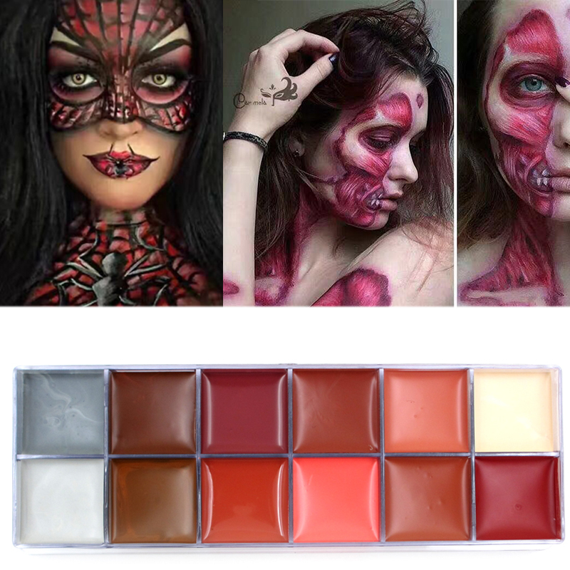 IMAGIC 12 Flash Colors Case Tattoo Face Body Paint Halloween Party Fancy Dress Oil Painting Art ...
