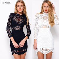 Fashion White Black Lace Flower Women Perspective Sexy Prom Girl Dress Bodycon Evening Petite Dresses