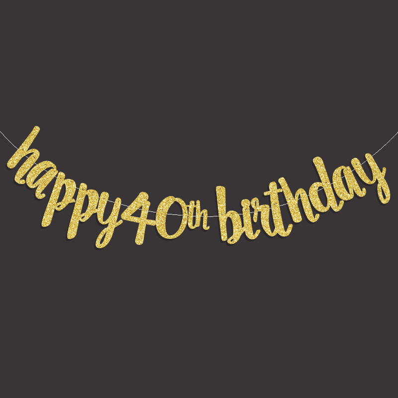 Gold Black Silver Glitter Happy 40th Birthday Banner Fourty Anniversary Party Decor 40 Decorations Supplies In Banners Streamers Confetti