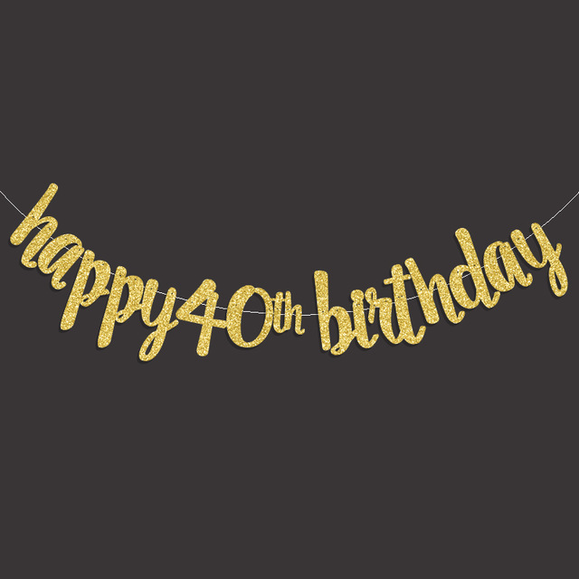 Gold Black Silver Glitter Happy 40th Birthday Banner Fourty Anniversary Party Decor 40