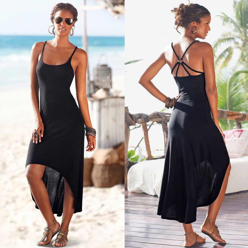 ITFABS 2020 Summer Bikini Cover Up  Loose Casual Straps Womens Black Dress Backless Beach Cover-Ups Bnadage Long Dress Beachwear