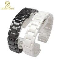 Керамические часы браслет 14 15 16 17 18 19 20 21 мм ремешок Белый Черный ремешок наручные часы Группа не выцветает водостойкий