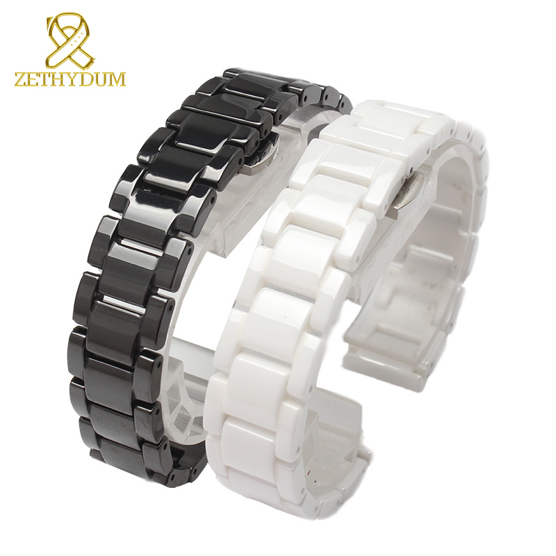 Ceramic watch bracelet 14 15 16 17 18 19 20 21mm watchband white black strap wristwatches band not fade water resistant | Watchbands