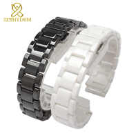 Keramik uhr armband 14 15 16 17 18 19 20 21mm armband weiß schwarz strap armbanduhren band nicht verblassen wasser beständig