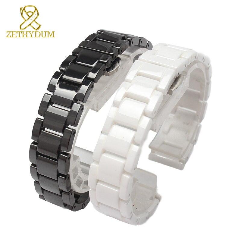 Relógio de cerâmica pulseira 14 15 16 17 18 19 20 21mm pulseira pulseira branca pulseira preta não desvanece-se resistente à água