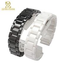 Zegarek ceramiczny bransoletka 14mm 15 16 17 18 19 20 21mm 22mm watchband biały czarnym paskiem na rękę zespół nie znikną wodoodporny