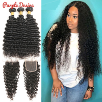 Deep Curly Hair Bundles With Closure Brazilian Hair Weave 3 Bundles Human Hair with Closure Pureple Desire Remy Hair Extensions