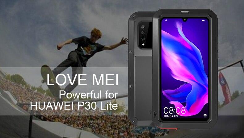 LOVEMEI Puissant Couvercle En Métal Étanche Pour Huawei P30 Lite Cas Complet Du Corps En Aluminium Antichoc Defender coque de téléphone Pour Nova 4e