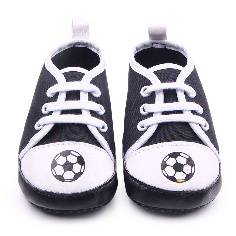 Fashional Simple Canvas Soft Bottom T-tied Baby Toddler With Football Pattern Baby Sports Shoes For Boys 0-15 Months