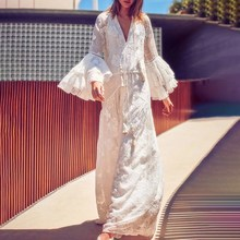 Summer Women White Beach Party Dress Long Sleeve Lace Bohemian Boho Sundress Maxi