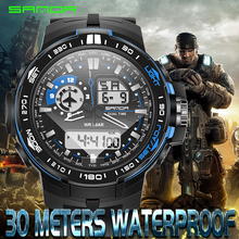Fashion SANDA Sports Brand Watch Men's Digital Resistant Quartz Alarm Wristwatches Outdoor Military LED Casual Watches 2016