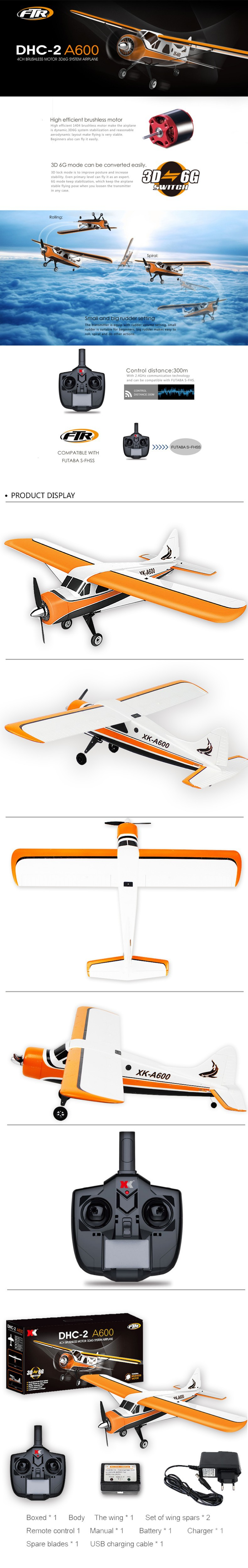 XK DHC-2 A600 -5CH-3D6G System Brushless -RC Airplane- Compatible Futaba -RTF-DISPLAY-