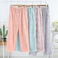 Couple Sleep Bottoms Winter Pants Thicken Flannel Pants Men & Women Flannel Pyjama Pants Sleep Bottom Warm Lounge Wear
