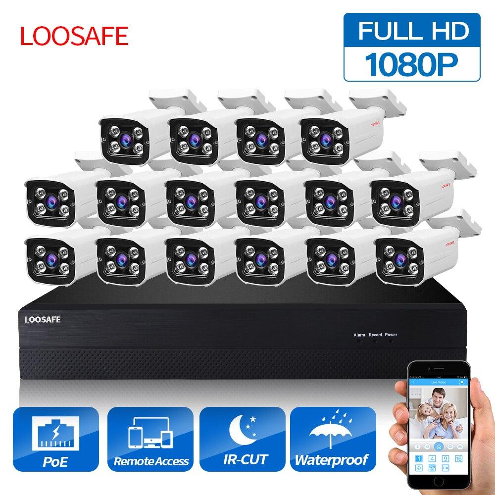 LOOSAFE POE Caméras de Surveillance Système 16CH 1080 P Caméra de Sécurité POE HD CCTV DVR 16 PCS 2.0 MP IR En Plein Air caméra de sécurité Kit