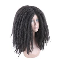 Luxury For Braiding 18inch Ombre Color Marley Afro Kinky Curly  Synthetic Wig for Women  Black Brown Dark Brown