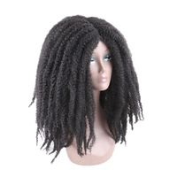 Luxury For Braiding 18inch Ombre Color Marley Afro Kinky Curly kanekalon Synthetic Wig for Women Black Brown Dark Brown