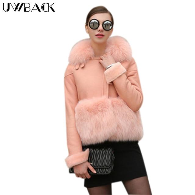 9661c679000 Uwback 2017 Brand Spring Faux Fur Coat Women Winter Short Windbreaker Jacket  Femme Pink Leather Fox