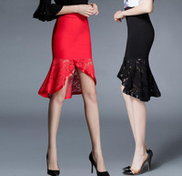 Newest Summer Spring High Quality Elegant Lace Ruffled Hip Skirts Women Sexy Elastic Waist Trumpet Fishtail