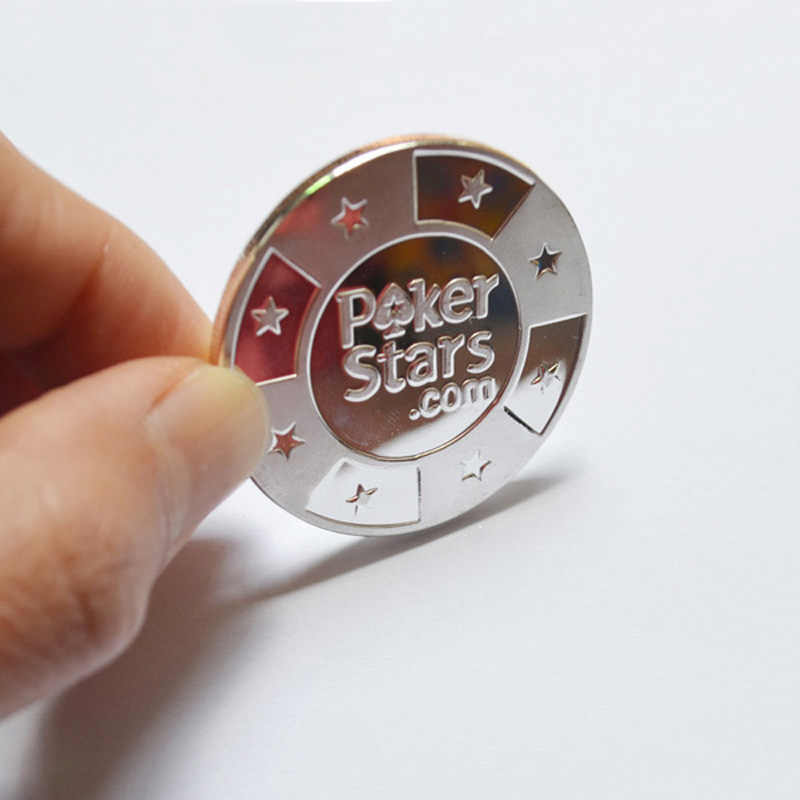 Poker Cards Guard Protector,Metal Token Coin with Plastic Cover Metal Chip Poker Stars Silver Color Good Souvenir