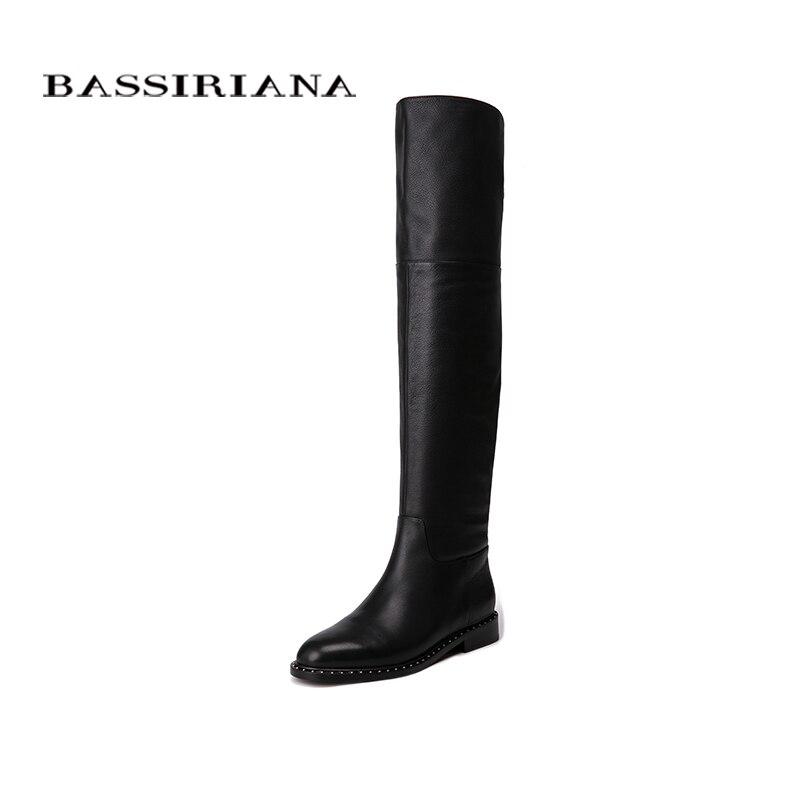 BASSIRIANA 2018 Nuovo Over-The-ginocchio Del cuoio Genuino stivali delle donne di Inverno scarpe donna Zip 35-40 Alta qualità di Trasporto libero