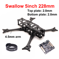 Swallow 5inch 228 wheelbase 228mm 3K Full Carbon Fiber FPV Quadcopter Frame Kit with 4.5mm arms 5v / 12v PDB For RC Racing Drone