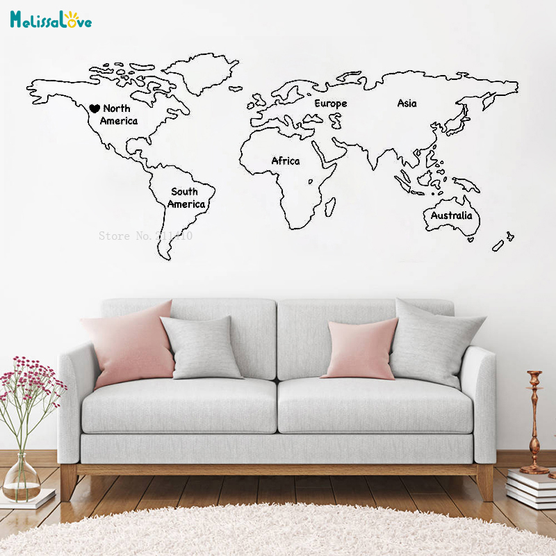 US $7.97 25% OFF|Outlined World Map Decal with Continents Vinyl Wall on map facebook covers, map wall mirror, map wall artwork, west point decal, diamond window decal, map wallpaper, wrench decal, map wall graphics, pirate life decal, map wall clock, trd hood decal, map paper, map united states football league, map wall mural, map your neighborhood, map with title, map shirt, nautical compass decal, wwp decal, map kashmir conflict,