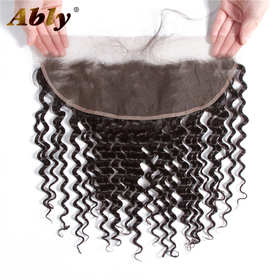 Peruvian Lace Frontal Closure Deep Wave Frontal Closure 100% Remy Human 13X4 With Baby Hair Pre Plucked Lace Frontal Closure